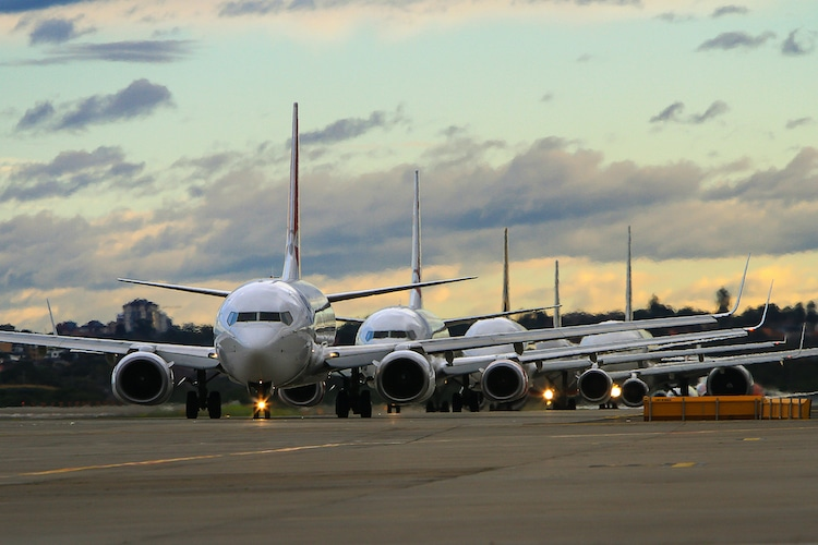 planes lined up on runway